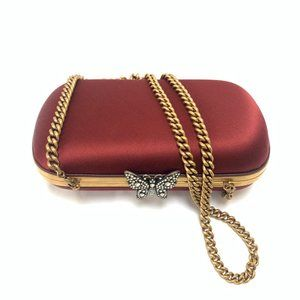 Gucci Broadway Butterfly Handbag Clutch  Burgundy